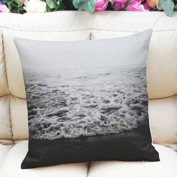 Sweet Home Decor Square Sea Weave Pattern Pillow Case - WHITE/BLACK