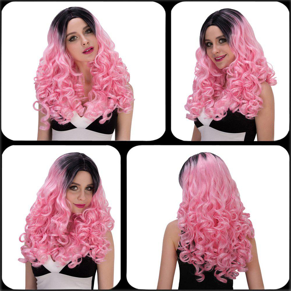 Fashion Women's Long Wavy Middle Part Mixed Color Cosplay Lolita Synthetic Wig - BLACK/PINK