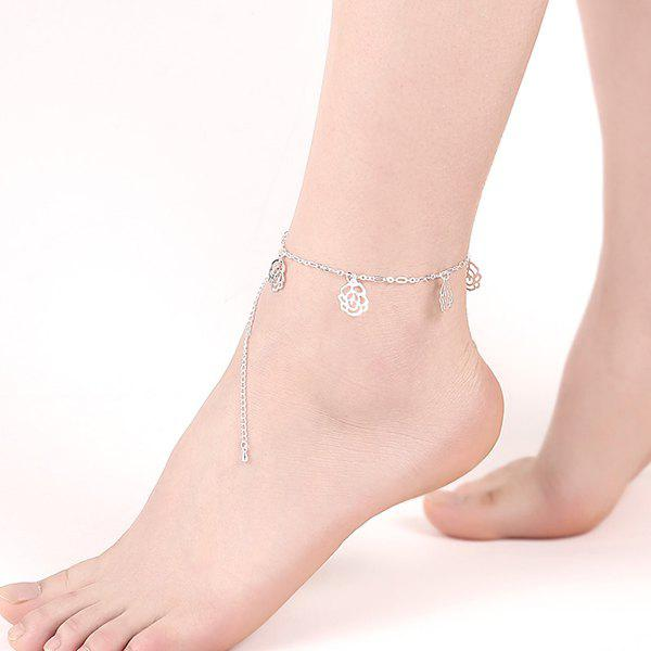 Hollow Out Flower Charm Anklet - SILVER