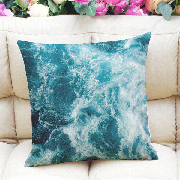 Sweet Home Decor Square Blue Seawater Pattern Pillow Case - MARINE GREEN