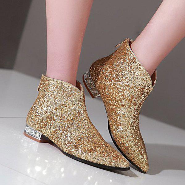 Stylish Pointed Toe and Sequined Design Women's Ankle Boots