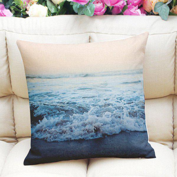 Sweet Home Decor Squarer Ocean Weave Pattern Pillow Case - PURPLISHBLUE / WHITE