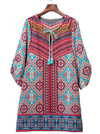 Ethnic Style 3/4 Sleeve Geometric Print Women's Dress - COLORMIX L