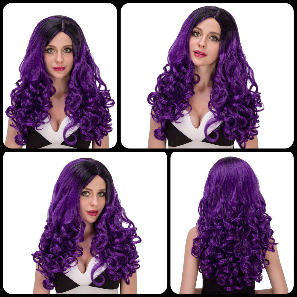 Charming Women's Long Wavy Side Parting Black Mixed Purple Cosplay Lolita Synthetic Wig - COLORMIX