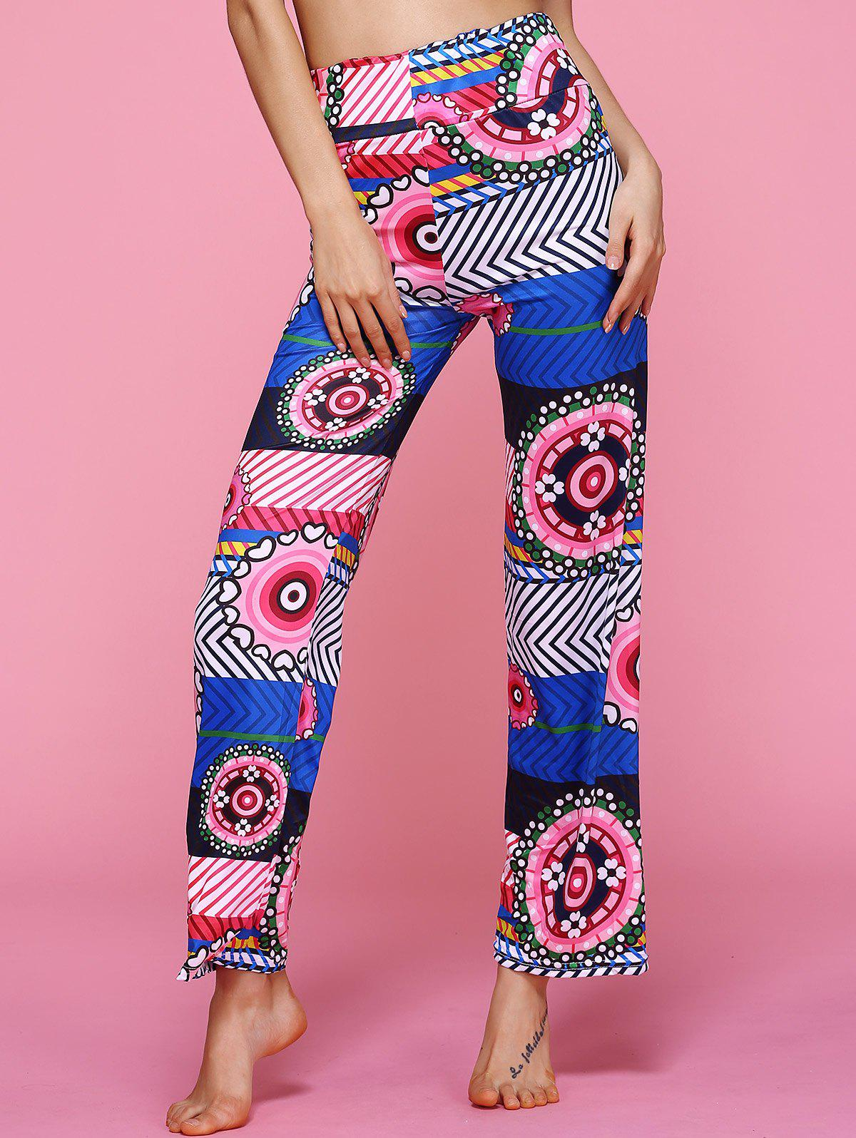 High Waisted Geometric Ethic Print Pants - COLORMIX XL