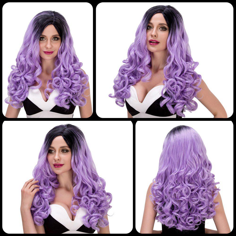 Charming Women's Long Wavy Side Parting Black Mixed Light Purple Cosplay Lolita Synthetic Wig - COLORMIX