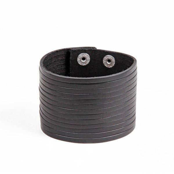 Punk PU Leather Layered Strand Bracelet For Men