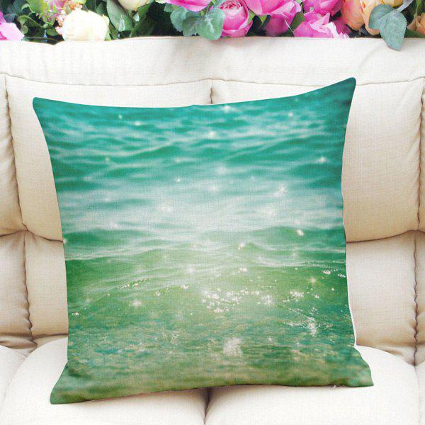 Sweet Home Decor Square  Shiny Ocean Pattern Pillow Case - MARINE GREEN