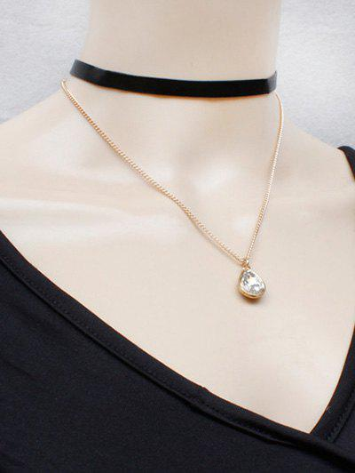 Water Drop Faux Crystal Necklace - BLACK/GOLDEN