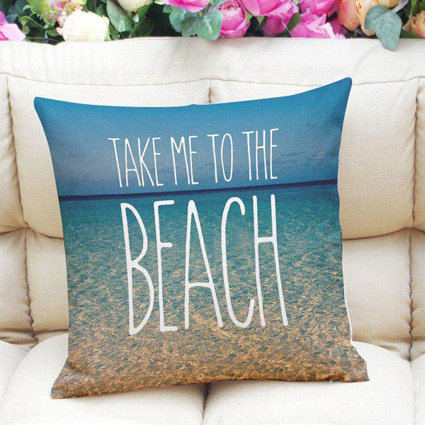 Sweet Home Decor Square Beach Letter Pattern Pillow Case - AZURE