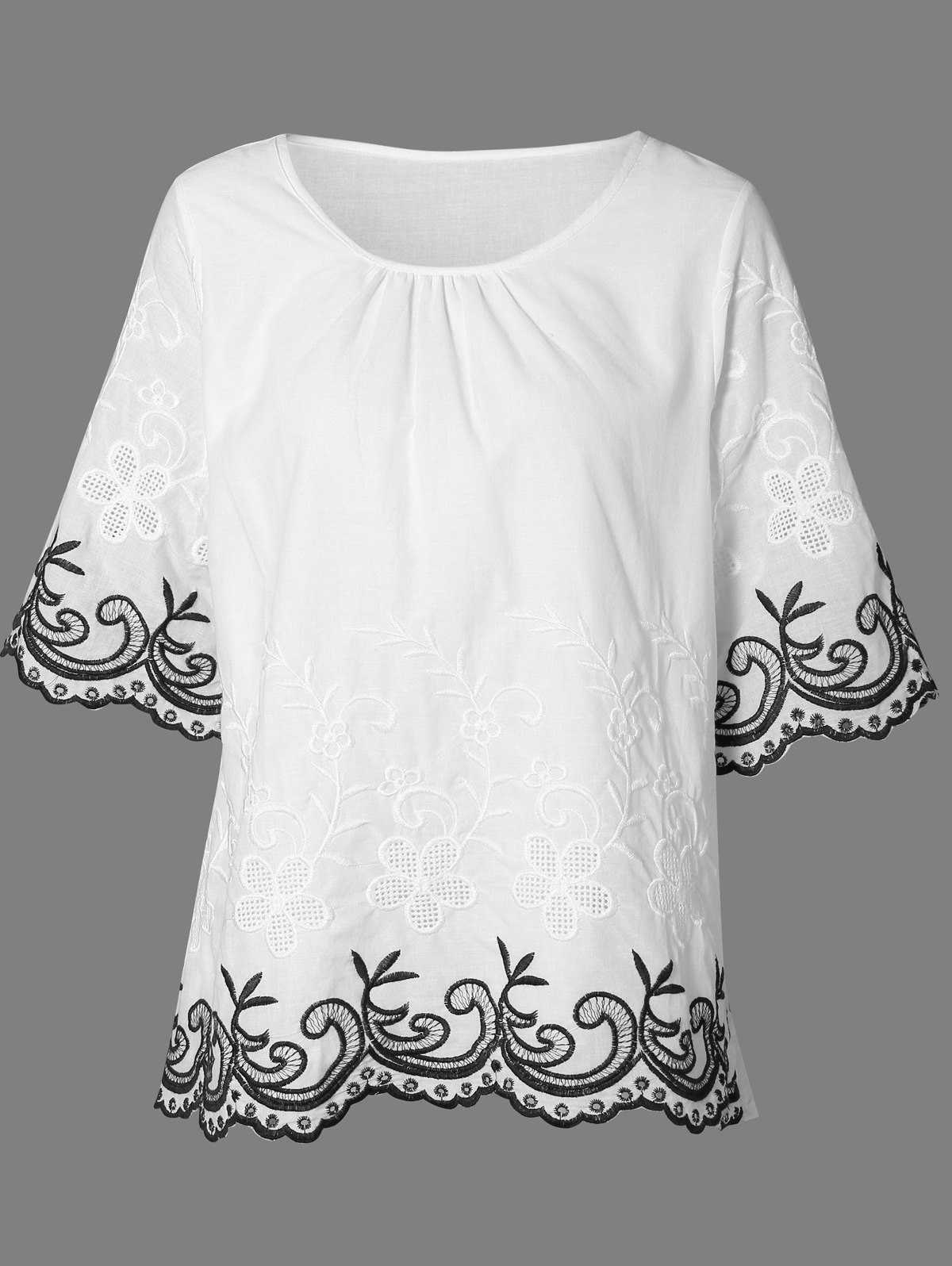 Jewel Neck 3/4 Sleeve Embroidery Blouse - WHITE ONE SIZE