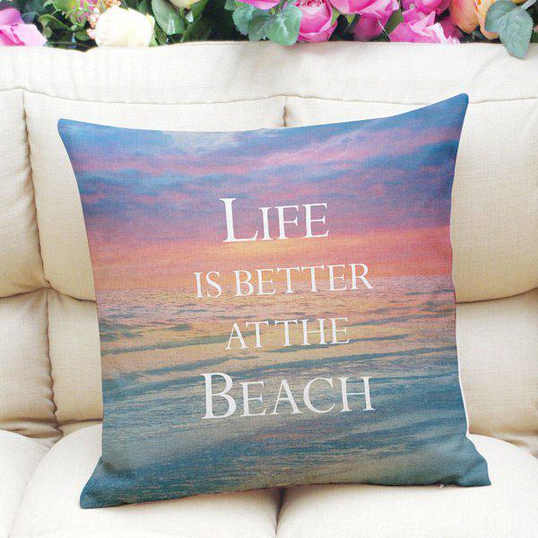 Sweet Home Decor Square Sunset Beach Letter Pattern Pillow Case - BLUE / PURPLE