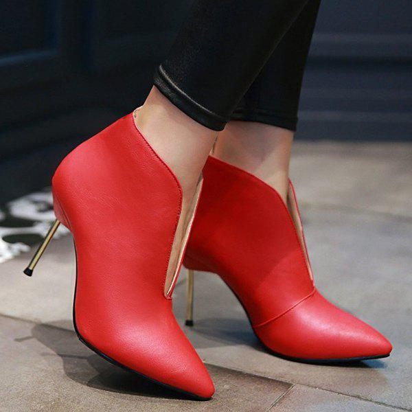 Trendy Stiletto Heel and PU Leather Design Women's Ankle Boots - RED 38