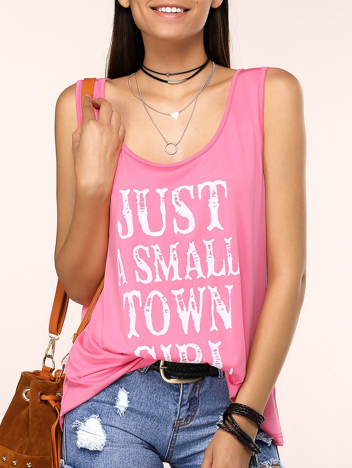 Charming Scoop Neck Letter Print Tank Top For Women - PINK 3XL