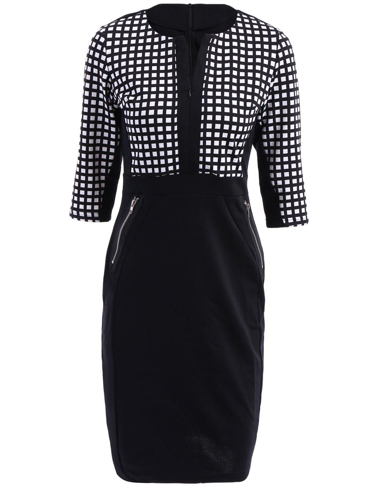 OL Style V-Neck Checked Print 3/4 Sleeve Women's Pencil Dress