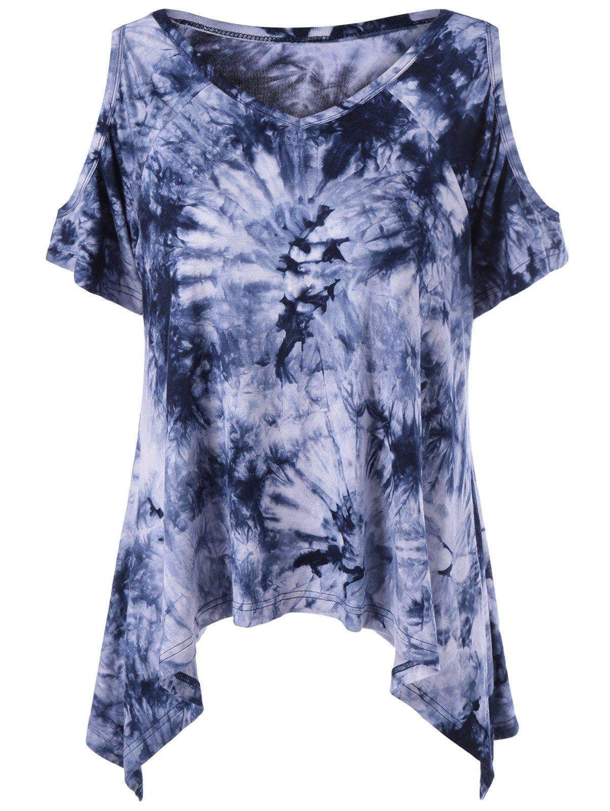 Tie-Dye Cold Shoulder Asymmetrical T-Shirt - COLORMIX L