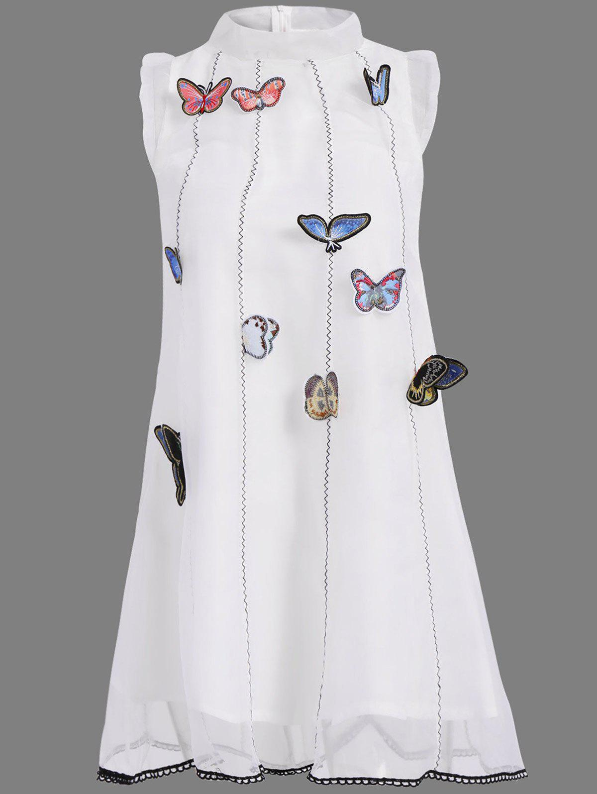 Graceful Stand-Up Collar Sleeveless Embroidered Butterfly Embellished A-Line Women's Dress - WHITE S