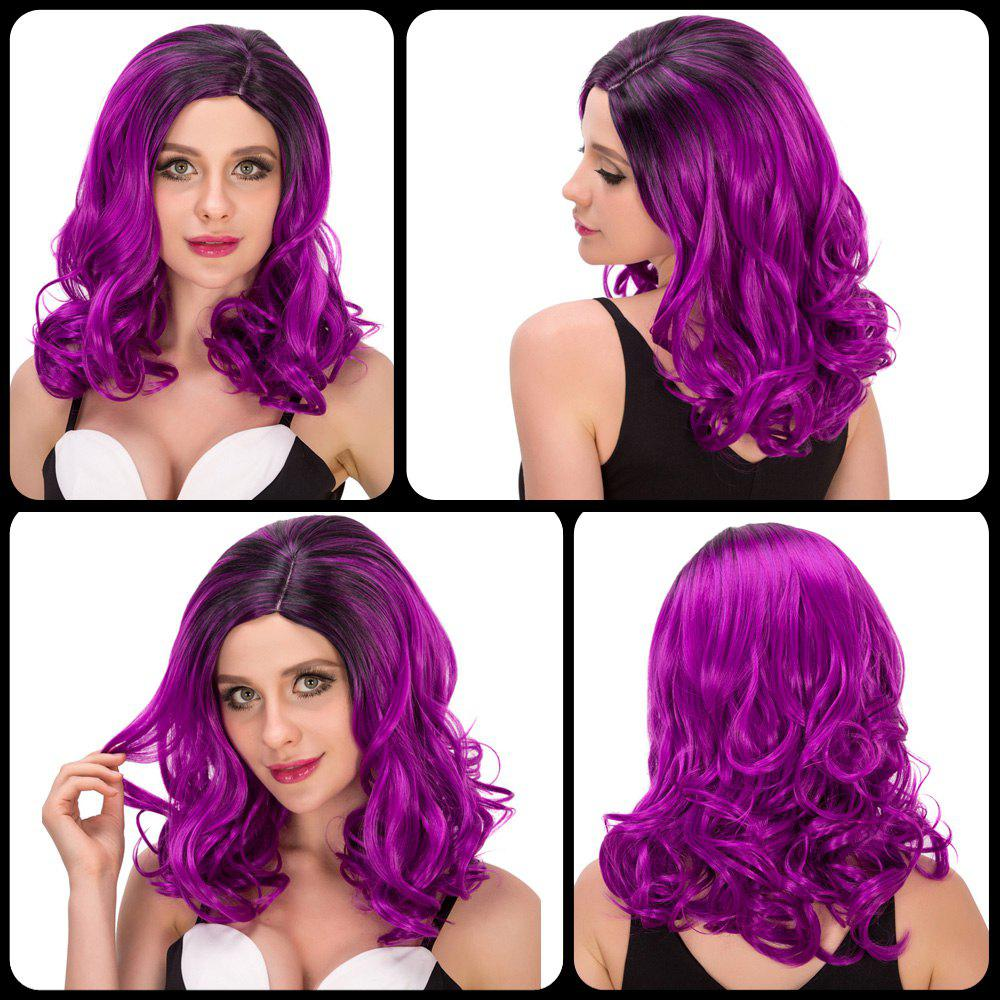 Sparkling Women's Medium Wavy Side Parting Black Mixed Bright Purple Cosplay Lolita Synthetic Wig