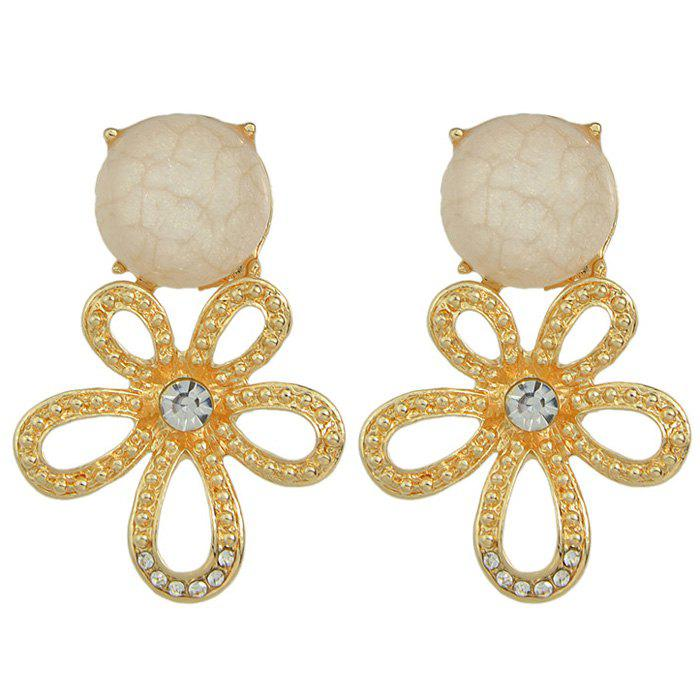 Pair of Rhinestone Faux Gemstone Hollow Out Flower Earrings - CRYSTAL CREAM