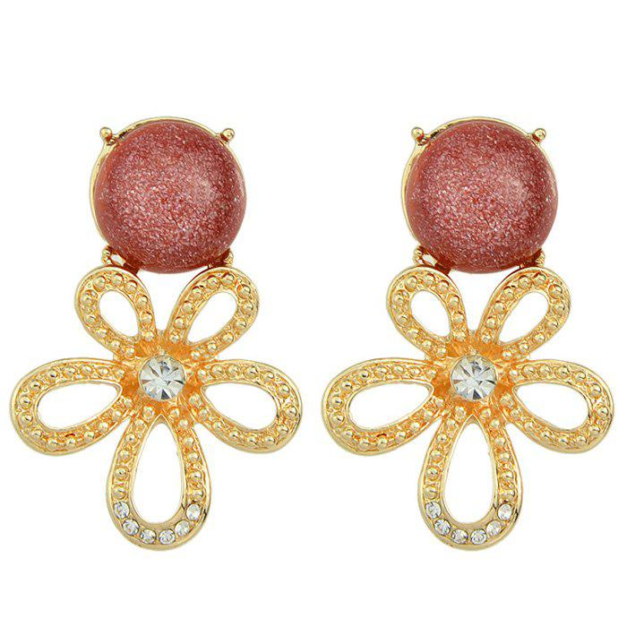 Pair of Rhinestone Faux Gemstone Hollow Out Flower Earrings - LATERITE