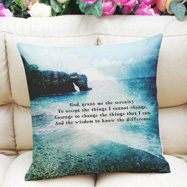 Sweet Home Decor Square Ocean Rock Letter Pattern Pillow Case