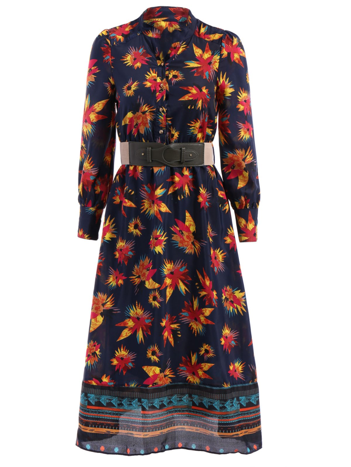 Bohemian Stand-Up Collar Long Sleeve Printed Belted Women's Dress - CADETBLUE S