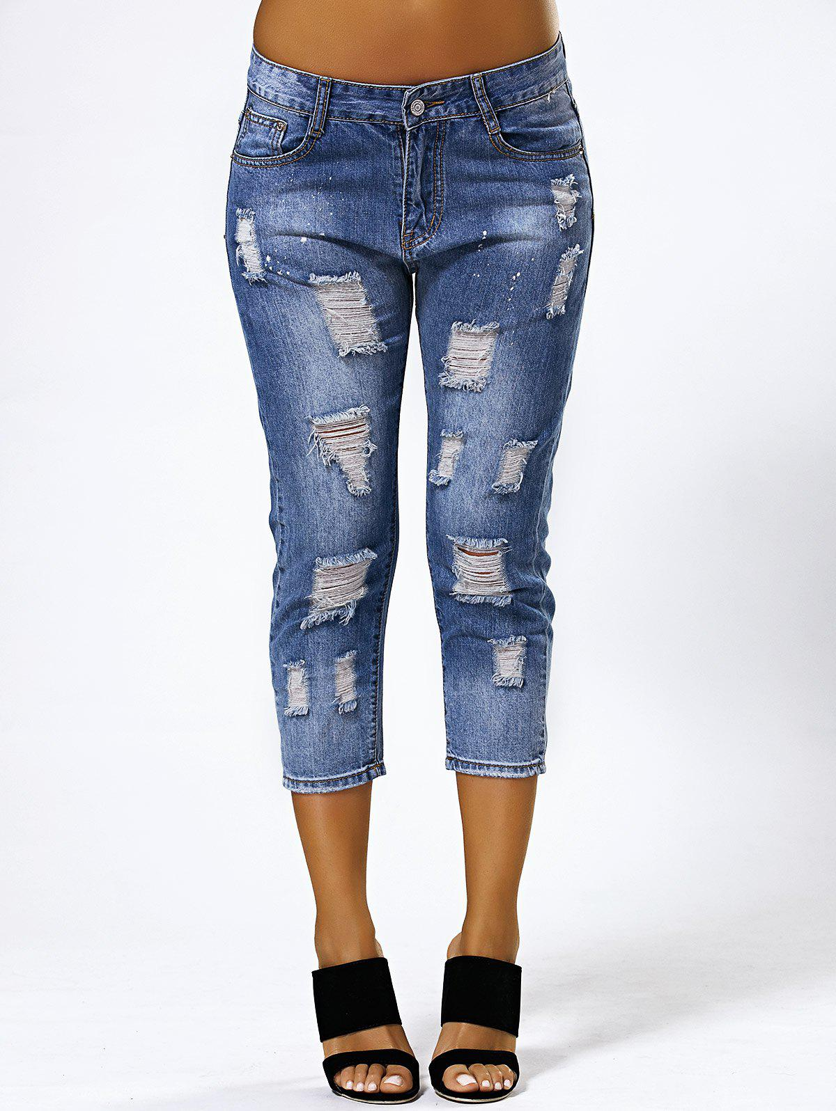 Ripped Capri Jeans - BLUE 28
