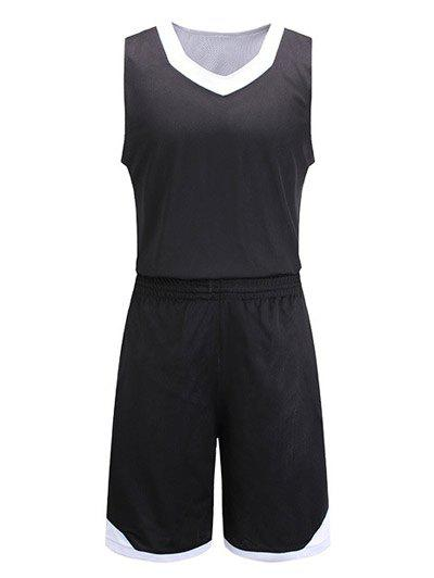 Reversible Style Color Block Splicing V-Neck Sleeveless Sport Suit ( Tank Top + Shorts ) - BLACK XL