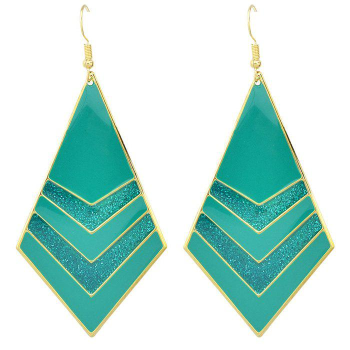 Pair of Fashion Style Enamel Polygon V-Shape Gold Plated Earrings For Women