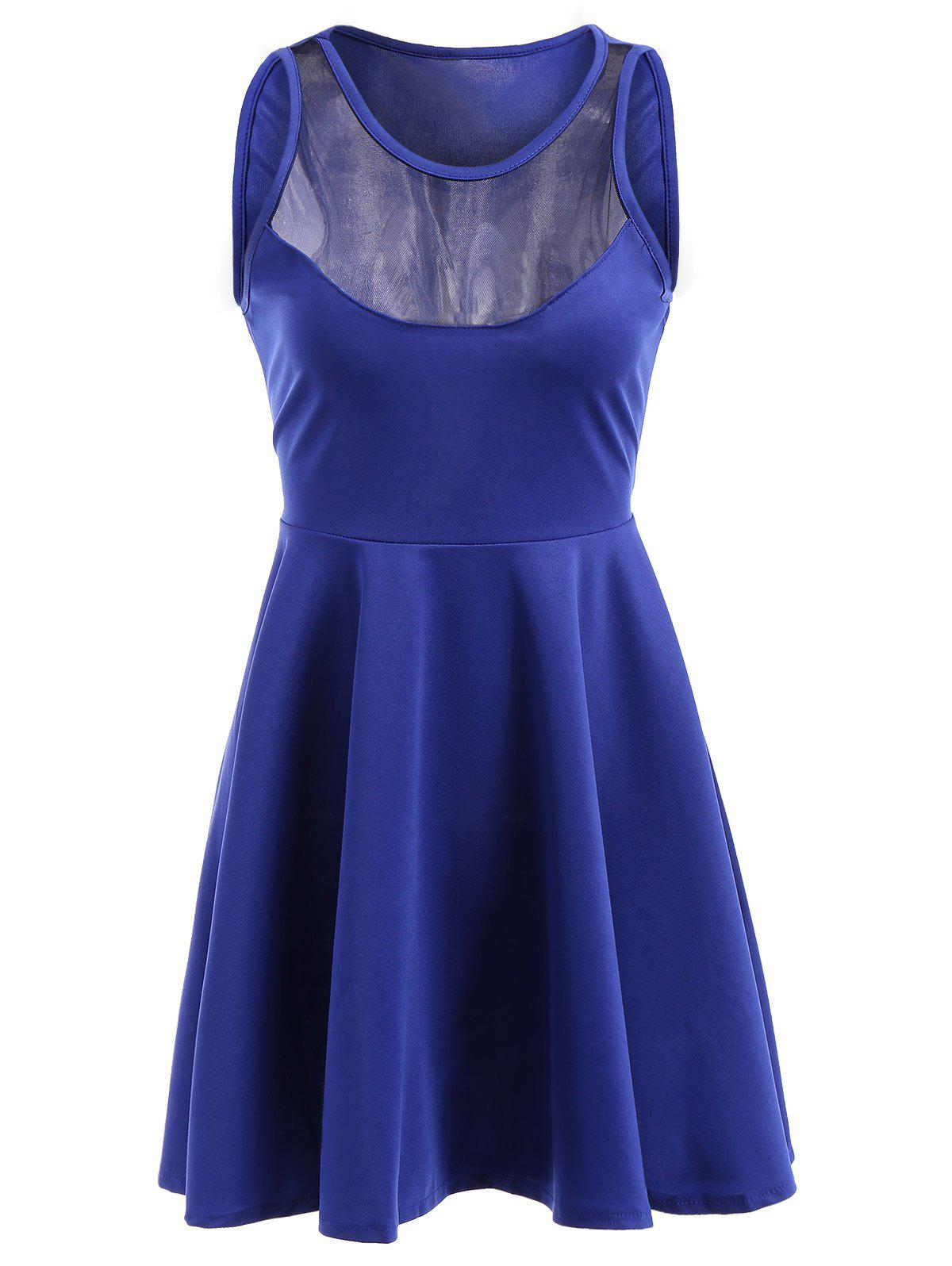 Casual Jewel Neck Sleeveless See-Through A-Line Women's Dress crystal lux бра crystal lux joy ap1