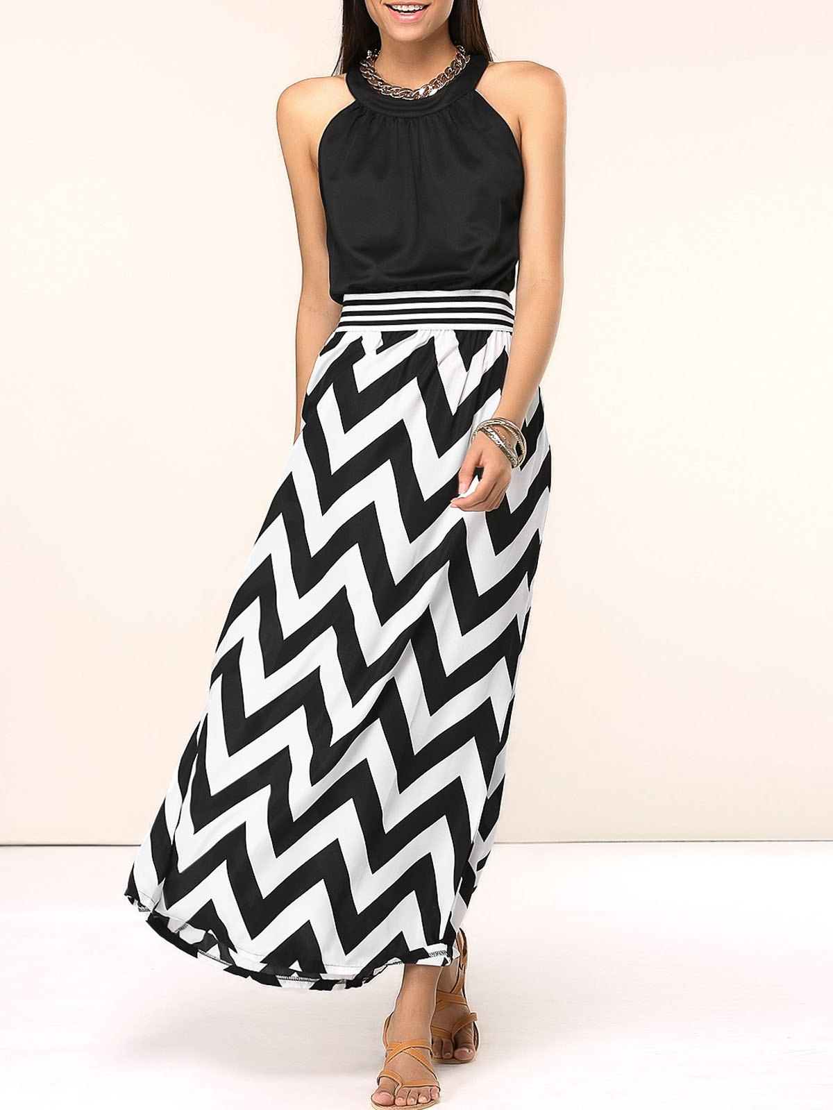 Chic Sleeveless Zig Zag Spliced Women's Dress - BLACK XL