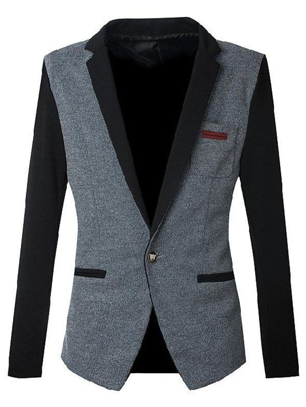 Color Block Spliced Slim Fit Notch Lapels Casual Blazer For Men - BLUE GRAY M