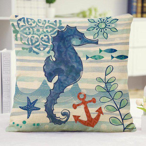 Cute Ocean Animal Hippocampus Pattern Pillow Case