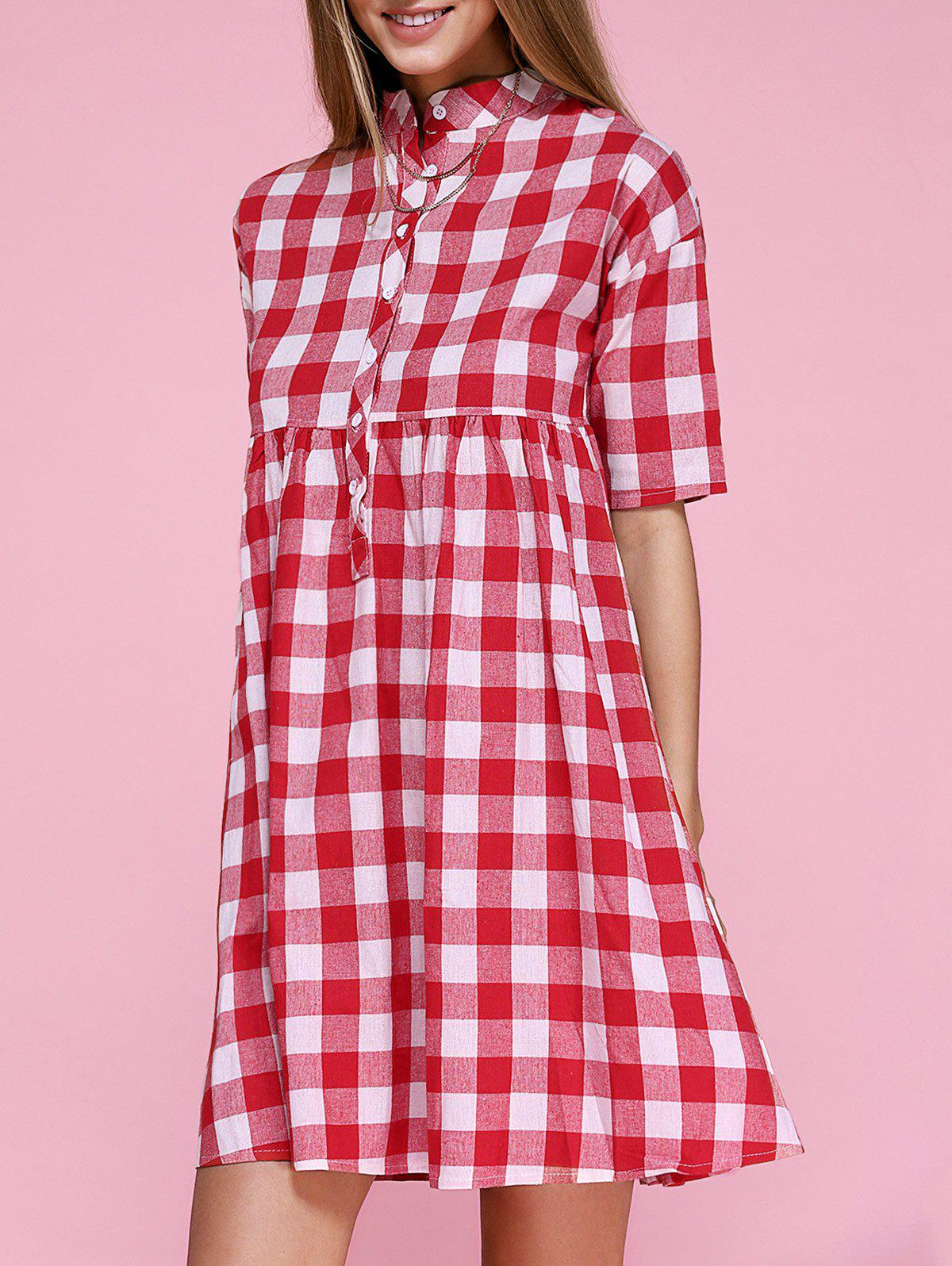 Stand Collar Plaid Smock Dress - RED 2XL