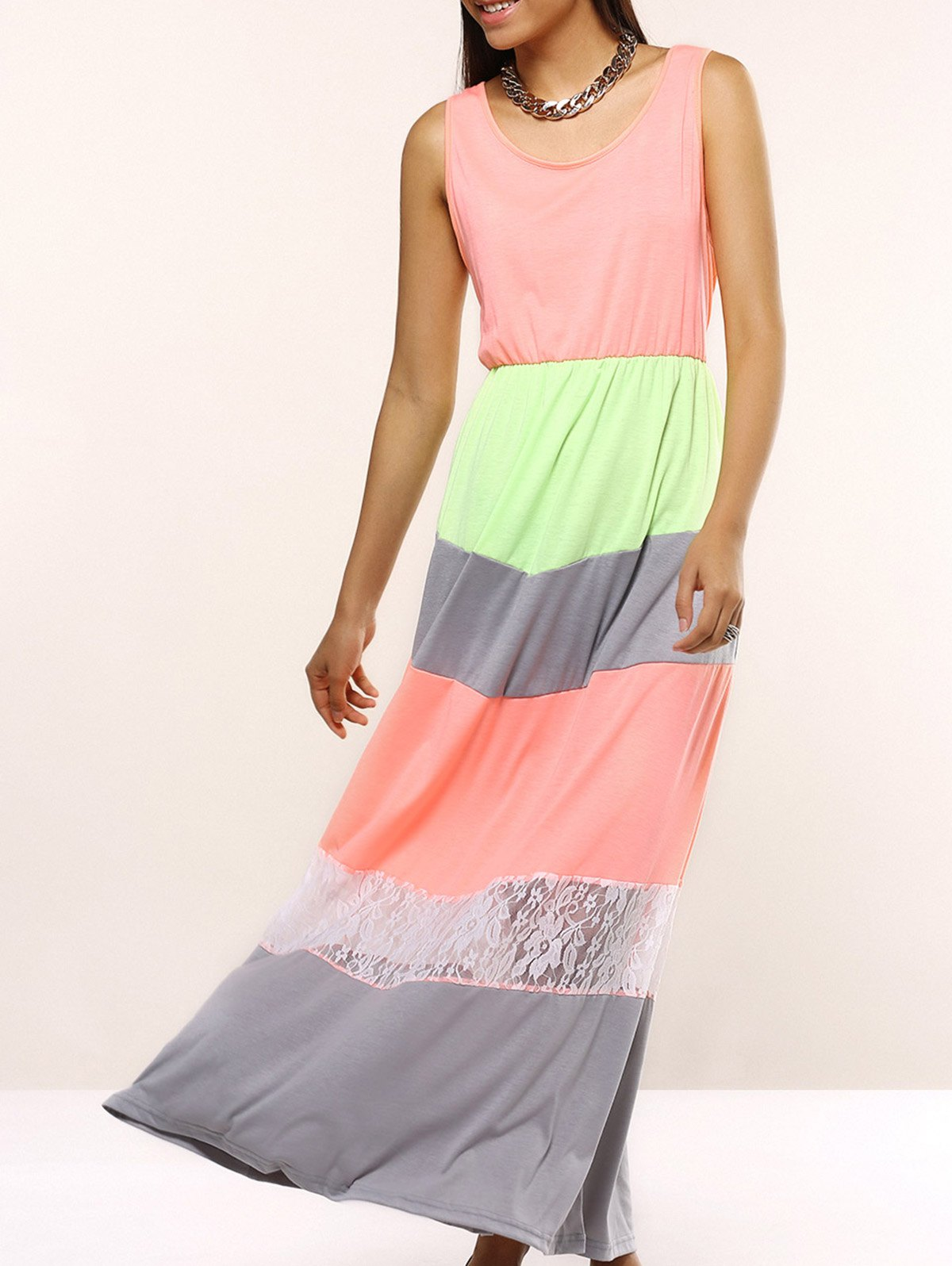 Charming Sleeveless Lace Spliced Hit Color Women's Dress - PINK 3XL