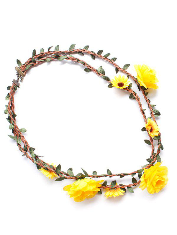 Gorgeous Floral Leaf Necklace - YELLOW