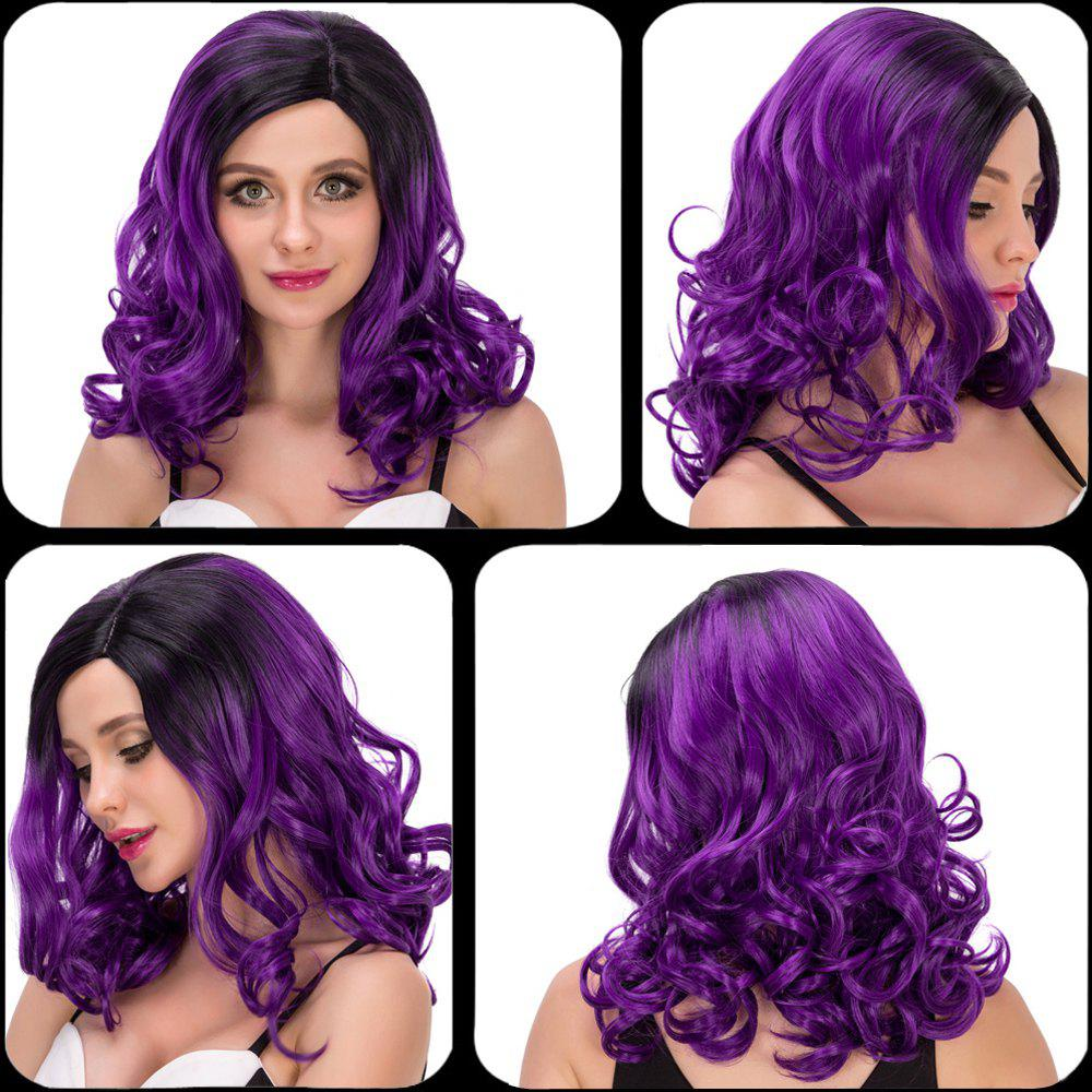 Charming Women's Medium Wavy Side Parting Black Mixed Purple Cosplay Lolita Synthetic Wig - COLORMIX