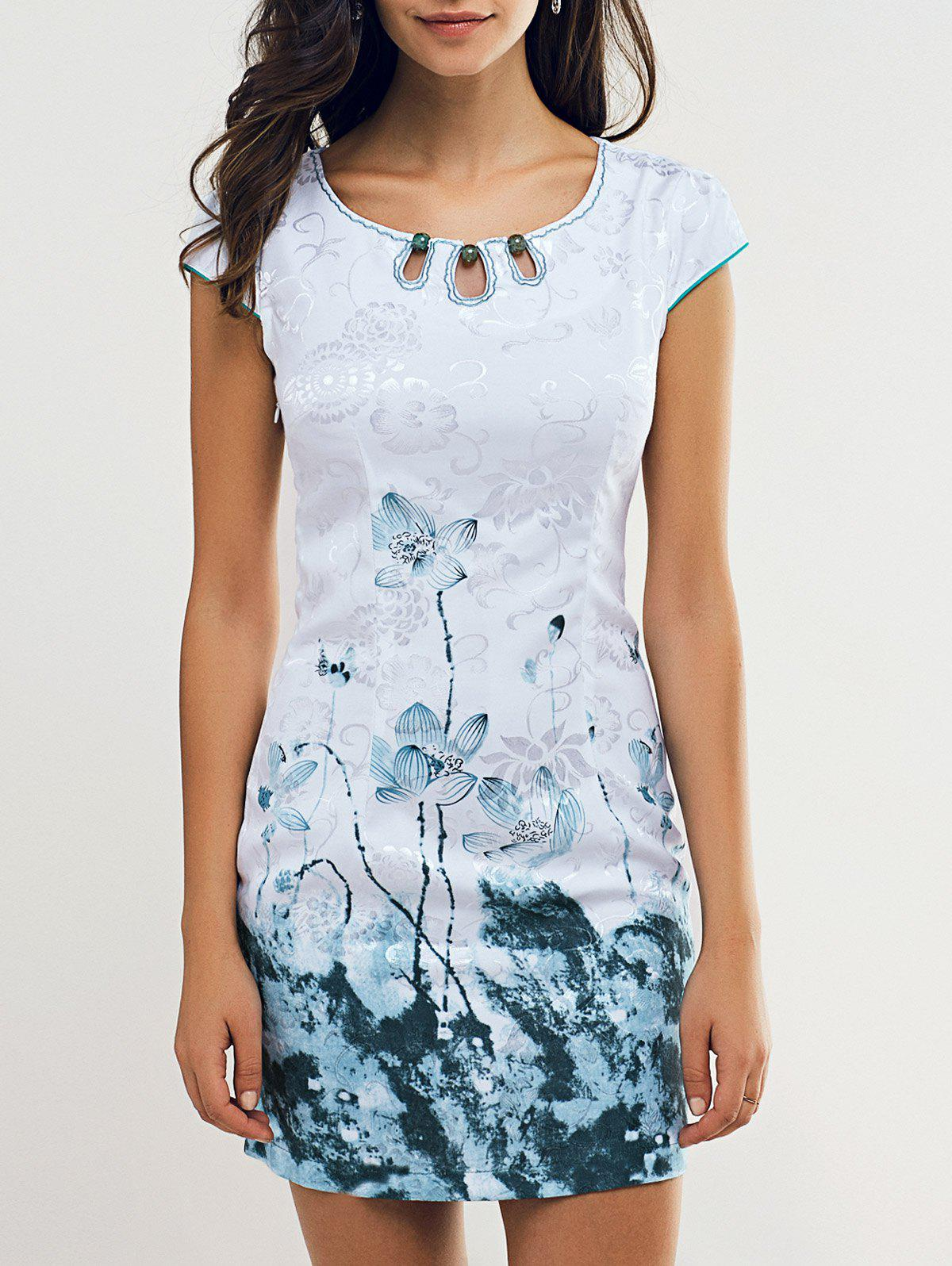 Vintage Bead Embellished Lotus Print Women's Cheongsam - LIGHT BLUE XL