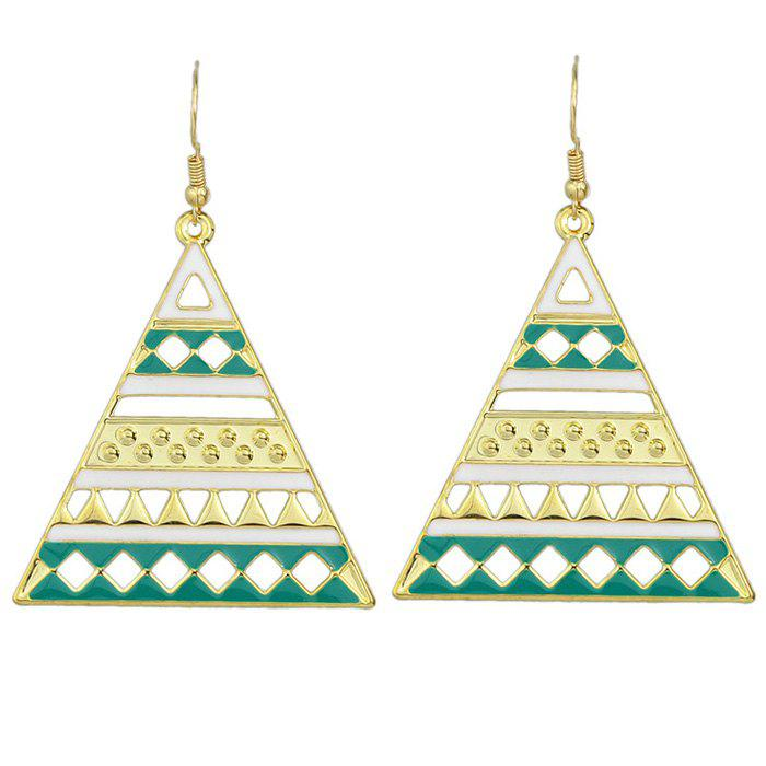 Pair of Fashion Style Hollow Out Enamel Geometric Triangle Earrings  For Women