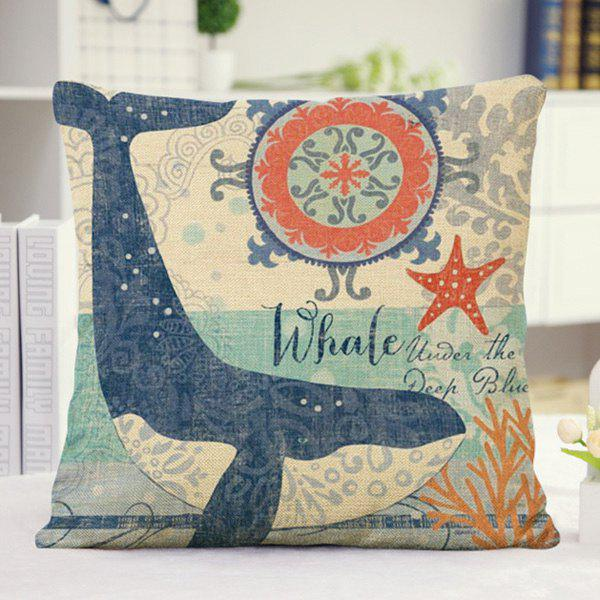 Cute Ocean Whale Letter Pattern Pillow Case