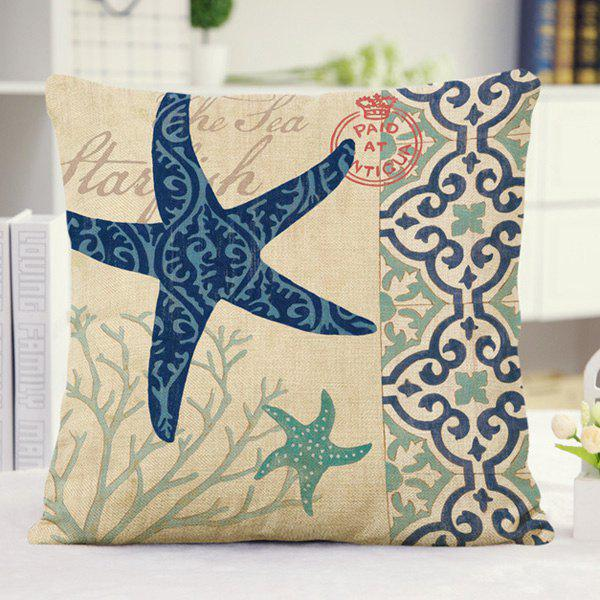 Cute Ocean Floral Starfish Pattern Pillow Case - BLUE/YELLOW/GREEN