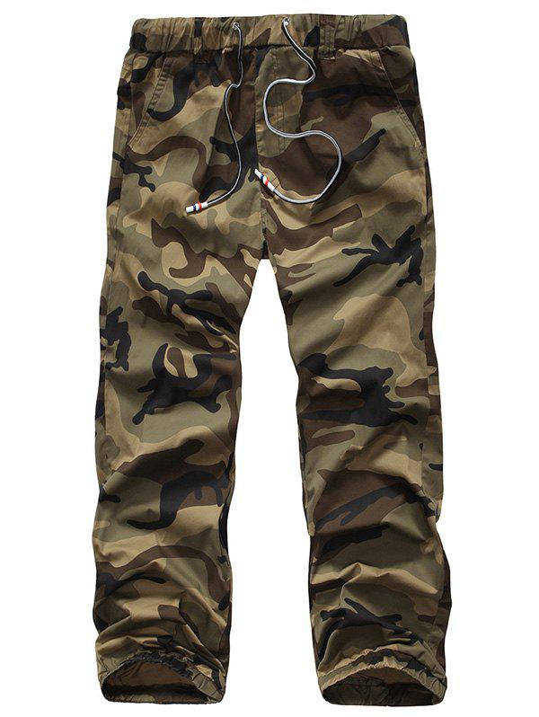Military Style Beam Feet Camo Print Loose Fit Men's Lace-Up Cargo Pants - EARTHY 38