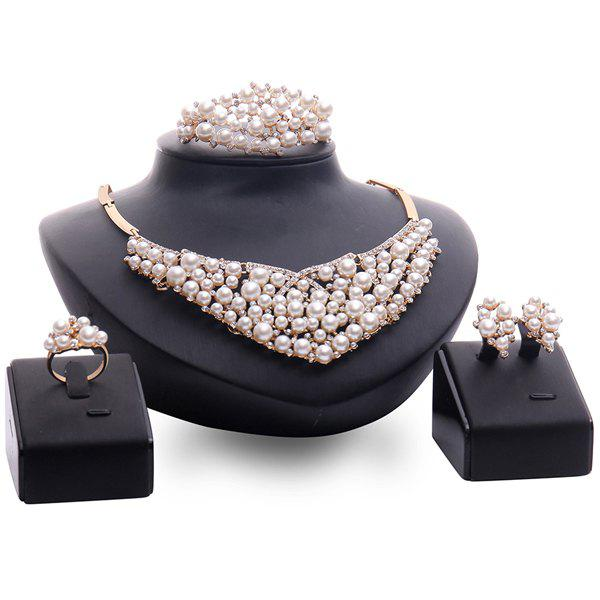A Suit of Vintage Rhinestone Faux Pearl Necklace Bracelet Ring and Earrings For Women
