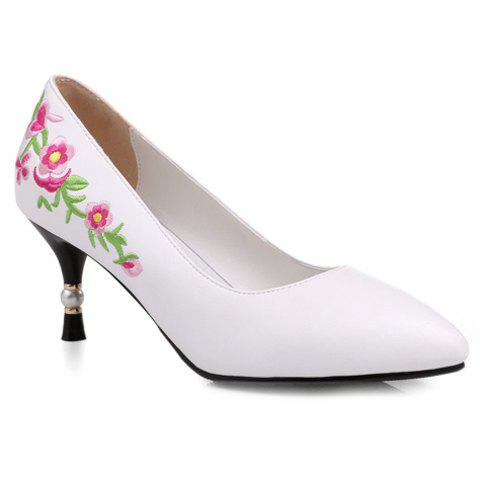 Ethnic Embroidery and Pointed Toe Design Women's Pumps - WHITE 38