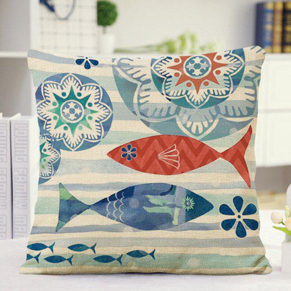 Cute Home Decor Floral Stripe Fish Pattern Pillow Case - BLUE/RED