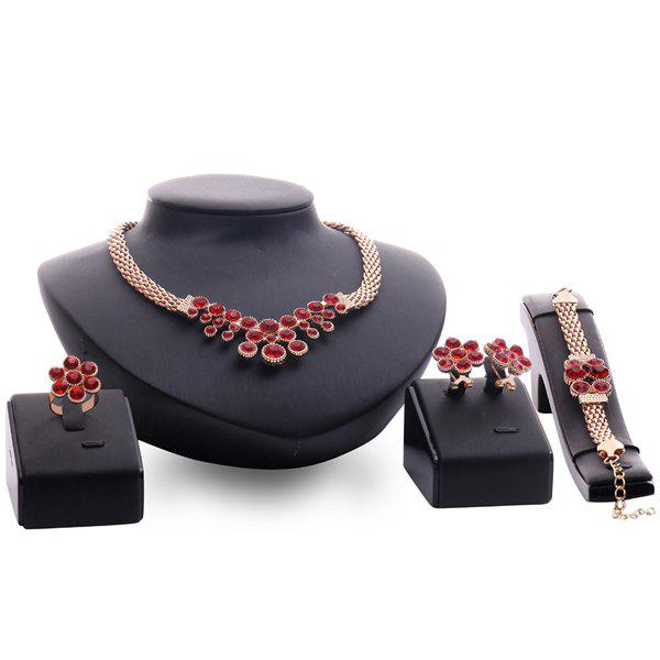 A Suit of Vintage Faux Ruby Flower Necklace Bracelet Ring and Earrings For Women
