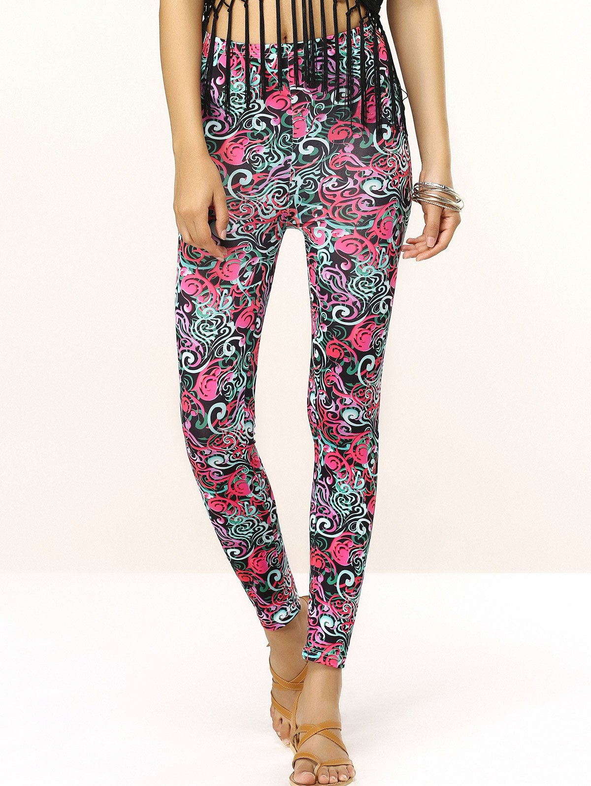 Chic Elastic Waist Ornate Print Skinny Slimming Women's Pants - ONE SIZE COLORMIX