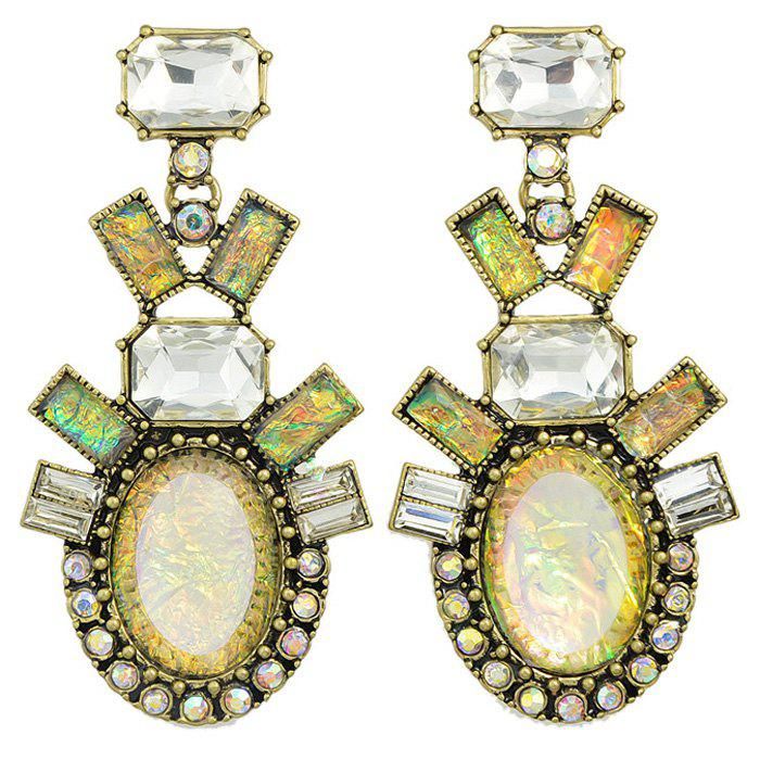Pair of Retro Rectangle Faux Gemstone Etched Alloy Earrings For Women