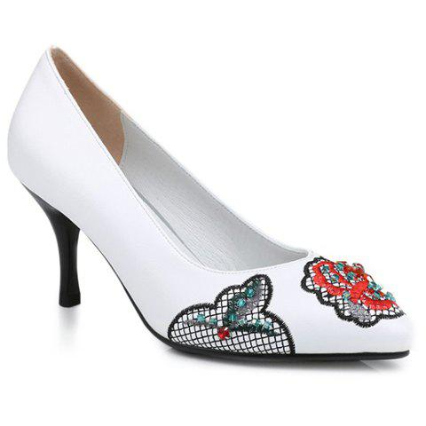 Ethnic Embroidery and Rhinestone Design Women's Pumps - WHITE 38
