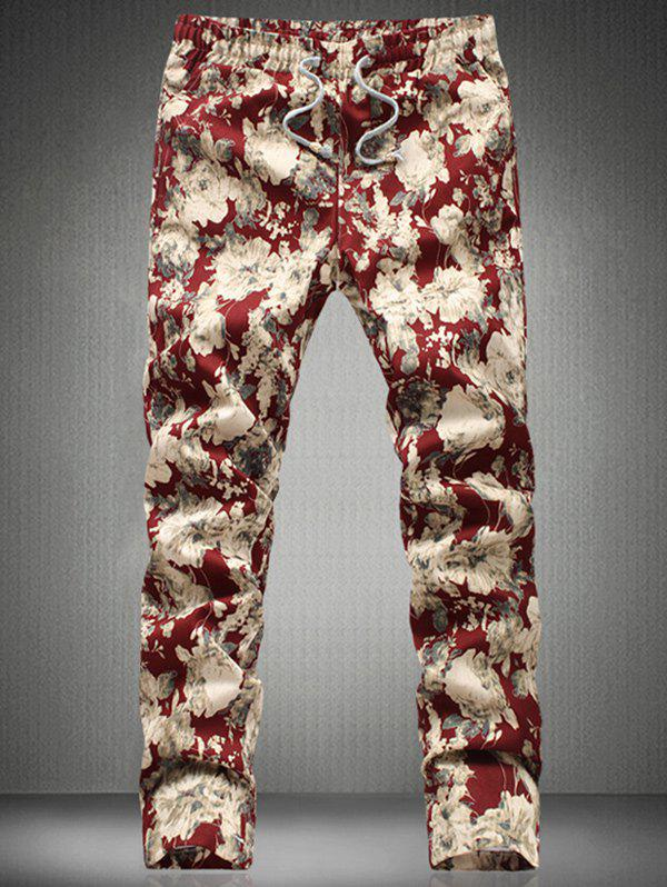 Stylish Floral Printed Drawstring Waistband Casual Pants For Men - RED 3XL